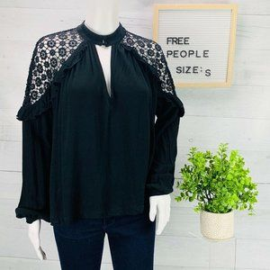 Free People Peasant Top Black Boho sz S